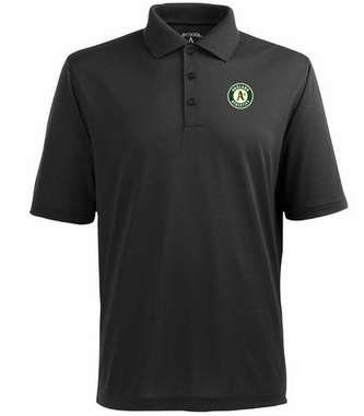 Oakland Athletics Mens Pique Xtra Lite Polo Shirt (Color: Black)