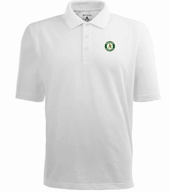 Oakland Athletics Mens Pique Xtra Lite Polo Shirt (Color: White)