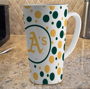 Oakland Athletics Polkadot 16 oz. Ceramic Latte Mug