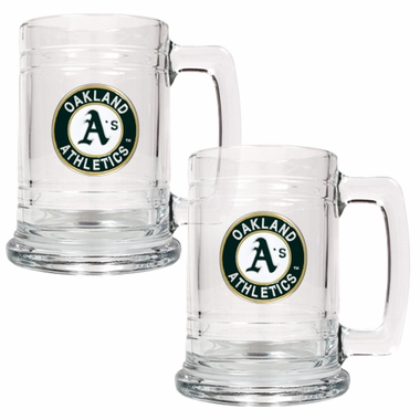 Oakland Athletics Set of 2 15 oz. Tankards