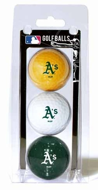 Oakland Athletics Set of 3 Multicolor Golf Balls