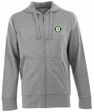 Oakland Athletics Mens Signature Full Zip Hooded Sweatshirt (Color: Gray)