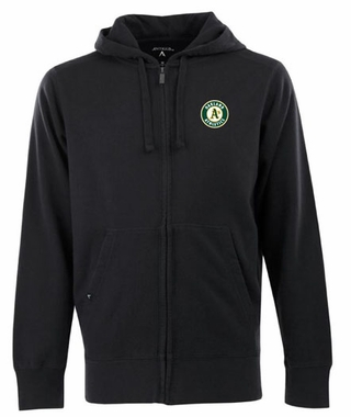Oakland Athletics Mens Signature Full Zip Hooded Sweatshirt (Team Color: Black)