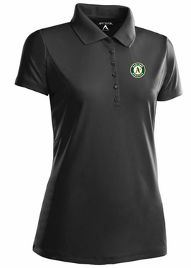 Oakland Athletics Womens Pique Xtra Lite Polo Shirt (Color: Black)