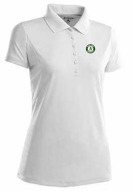 Oakland Athletics Womens Pique Xtra Lite Polo Shirt (Color: White)