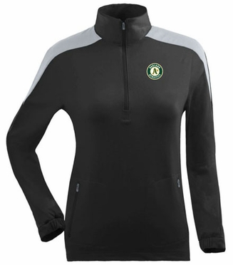 Oakland Athletics Womens Succeed 1/4 Zip Performance Pullover (Team Color: Black)