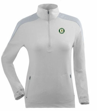 Oakland Athletics Womens Succeed 1/4 Zip Performance Pullover (Color: White)