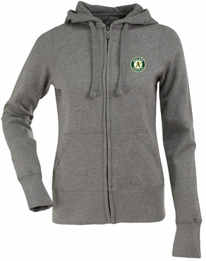 Oakland Athletics Womens Zip Front Hoody Sweatshirt (Color: Gray)