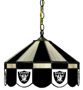 Oakland Raiders 16 Inch Diameter Stained Glass Pub Light
