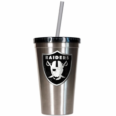Oakland Raiders 16oz Stainless Steel Insulated Tumbler with Straw