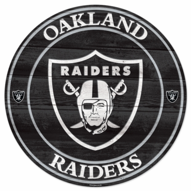 Oakland Raiders 19.75 Inch Wood Sign