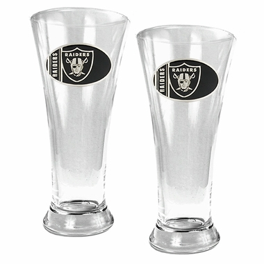 Oakland Raiders 2 Piece Pilsner Glass Set
