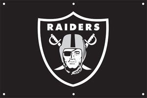 Oakland Raiders 2 x 3 Horizontal Applique Fan Banner
