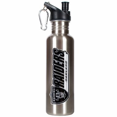 Oakland Raiders 26oz Stainless Steel Water Bottle (Silver)