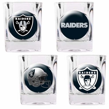 Oakland Raiders 4 Piece Assorted Shot Glass Set