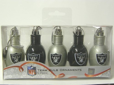 Oakland Raiders 5 Pack Bulb Ornaments