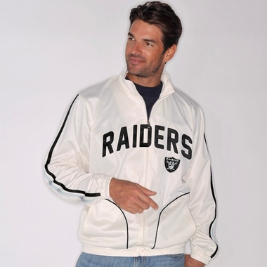 Oakland Raiders All American Full Zip Vintage White Track Jacket