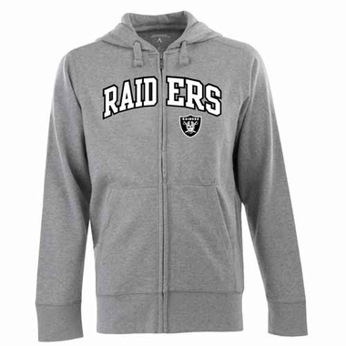 Oakland Raiders Mens Applique Full Zip Hooded Sweatshirt (Color: Gray)