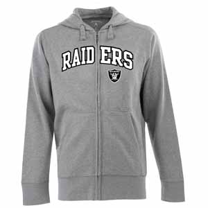 Oakland Raiders Mens Applique Full Zip Hooded Sweatshirt (Color: Gray) - Small