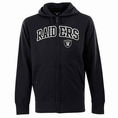 Oakland Raiders Mens Applique Full Zip Hooded Sweatshirt (Color: Black)