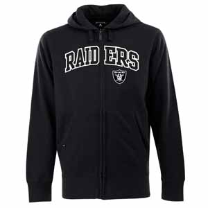 Oakland Raiders Mens Applique Full Zip Hooded Sweatshirt (Color: Black) - Large