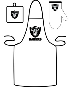 Oakland Raiders Apron and Mitt Set