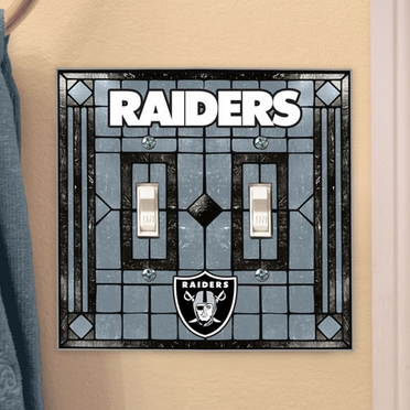 Oakland Raiders Art Glass Lightswitch Cover (Double)