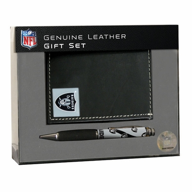 Oakland Raiders Bi-Fold Wallet and Pen Set