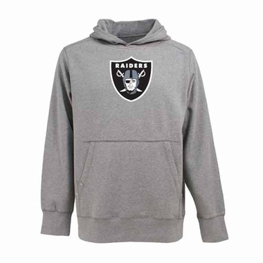 Oakland Raiders Big Logo Mens Signature Hooded Sweatshirt (Color: Gray)