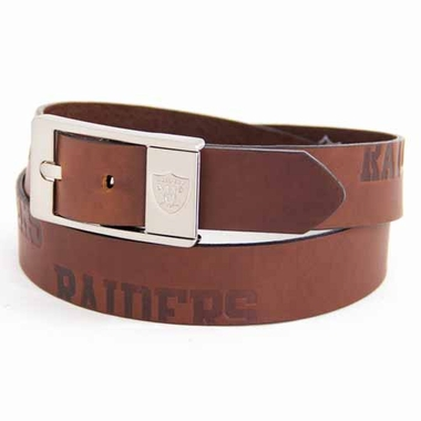 Oakland Raiders Brown Leather Brandished Belt