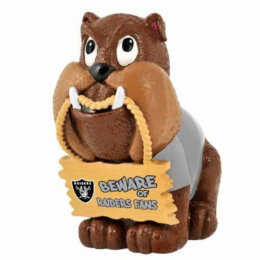 Oakland Raiders Bulldog Holding Sign Figurine