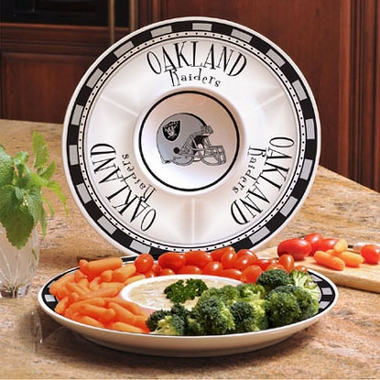 Oakland Raiders Ceramic Chip and Dip Plate