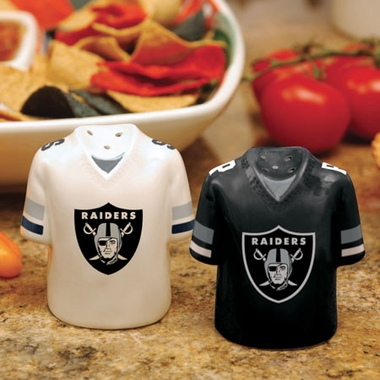 Oakland Raiders Ceramic Jersey Salt and Pepper Shakers