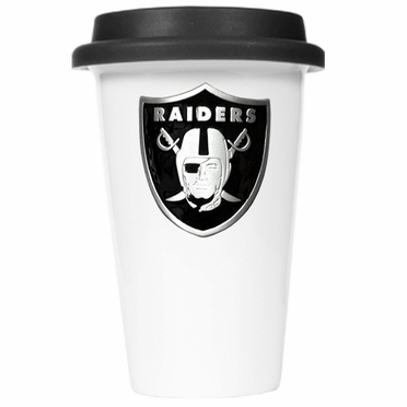 Oakland Raiders Ceramic Travel Cup (Black Lid)