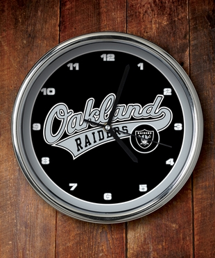 Oakland Raiders Chrome Clock