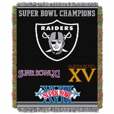 Oakland Raiders Commerative Jacquard Woven Blanket
