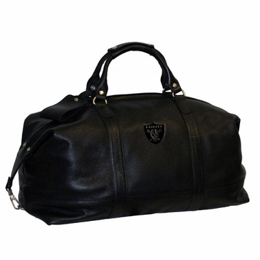 Oakland Raiders Debossed Black Leather Captain's Carryon Bag