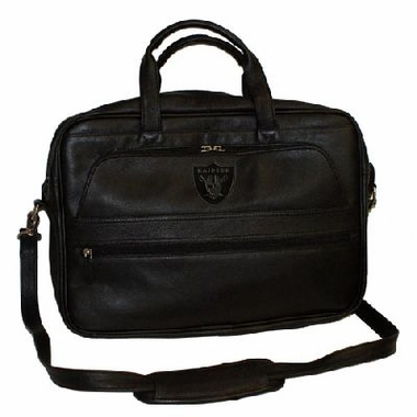 Oakland Raiders Debossed Black Leather Laptop Bag