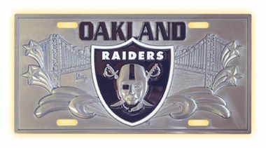 Oakland Raiders Deluxe Collector's License Plate