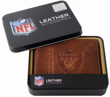 Oakland Raiders Embossed Leather Bifold Wallet