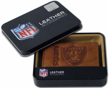 Oakland Raiders Embossed Leather Trifold Wallet