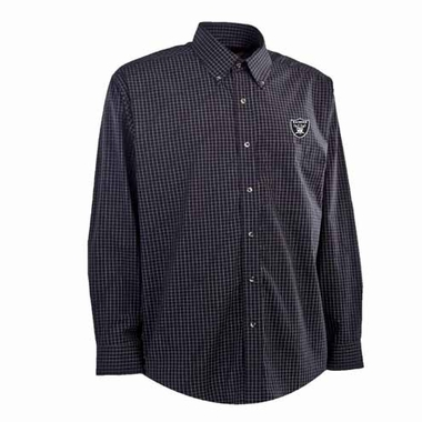 Oakland Raiders Mens Esteem Check Pattern Button Down Dress Shirt (Team Color: Black)