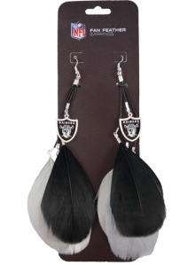 Oakland Raiders Team Color Feather Earrings