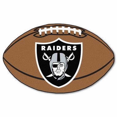 Oakland Raiders Football Shaped Rug