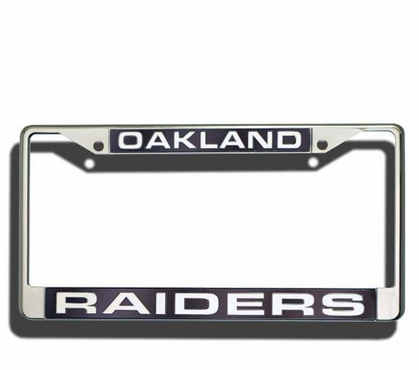 Oakland Raiders Laser Etched Chrome License Plate Frame