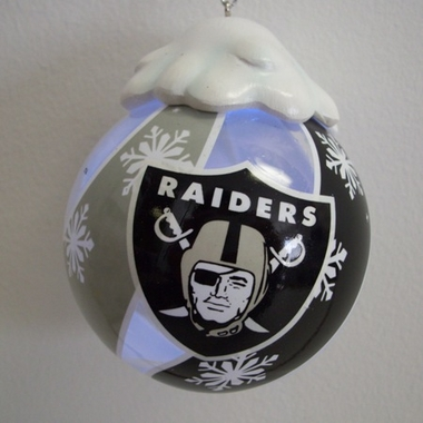 Oakland Raiders Light Up Glass Ball Ornament