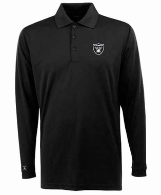 Oakland Raiders Mens Long Sleeve Polo Shirt (Color: Black)