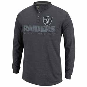 Oakland Raiders Long Sleeve Weathered Henley II - Large