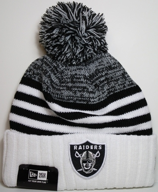 Oakland Raiders New Era NFL Snowfall Stripe Cuffed Knit Hat
