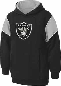 Oakland Raiders NFL YOUTH Color Block Pullover Hooded Sweatshirt - Medium